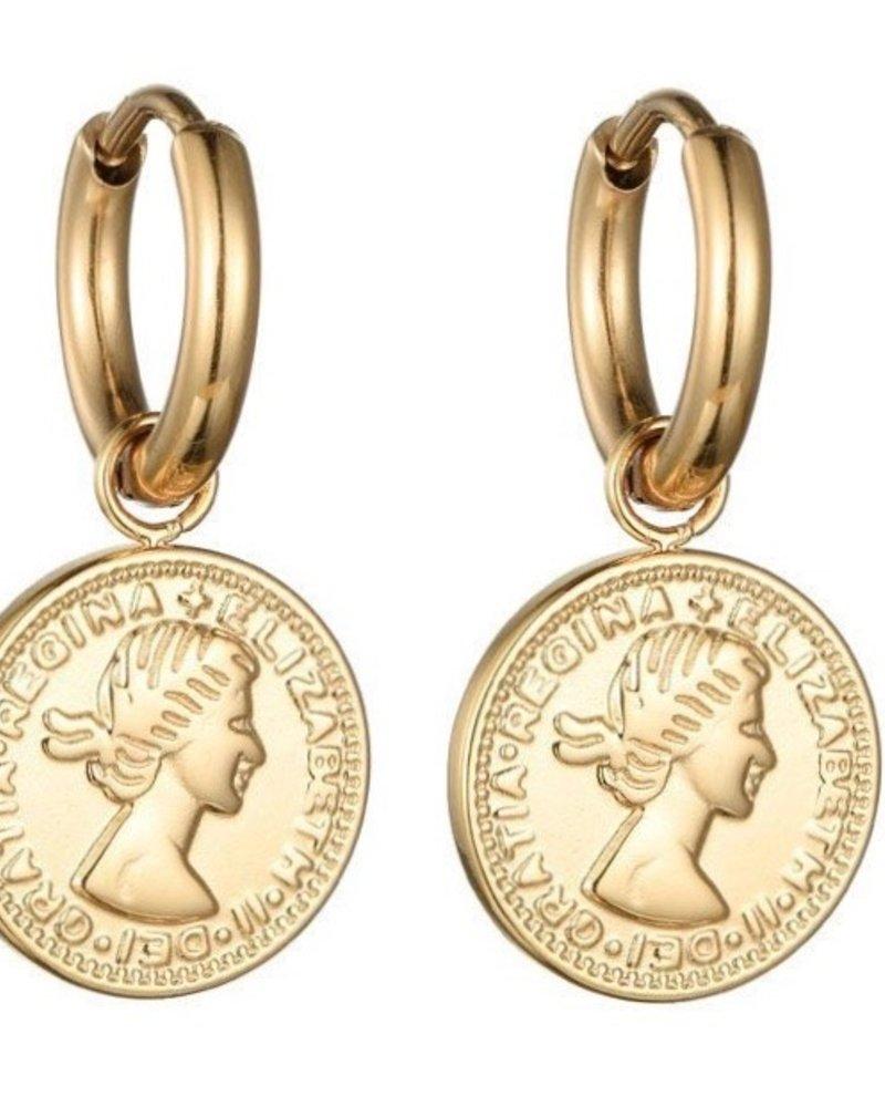 Earrings - Coin Hoops