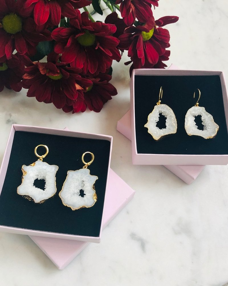 Earrings - Save The Date White