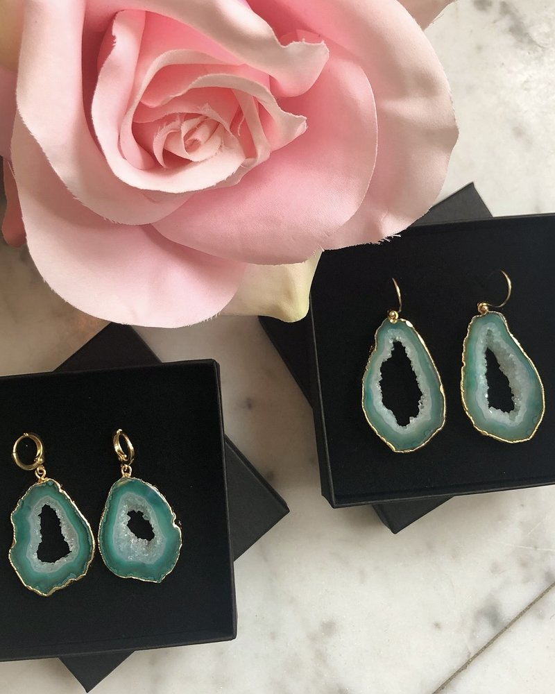 Earrings - Save The Date Green