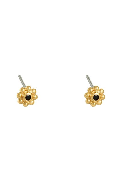 Earrings - Flower Black Studs