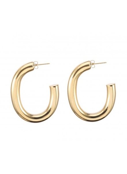 Earrings - Thick Oval Hoops