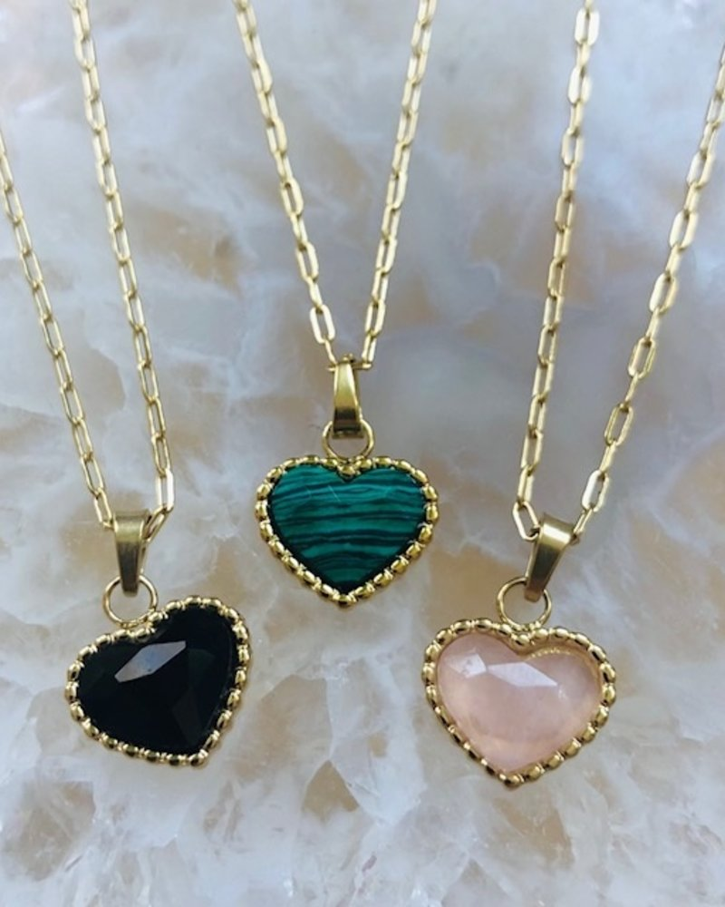 Necklace - Heart Green