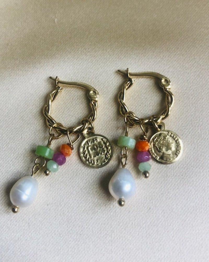 Oorbellen - Coin Pearl Party