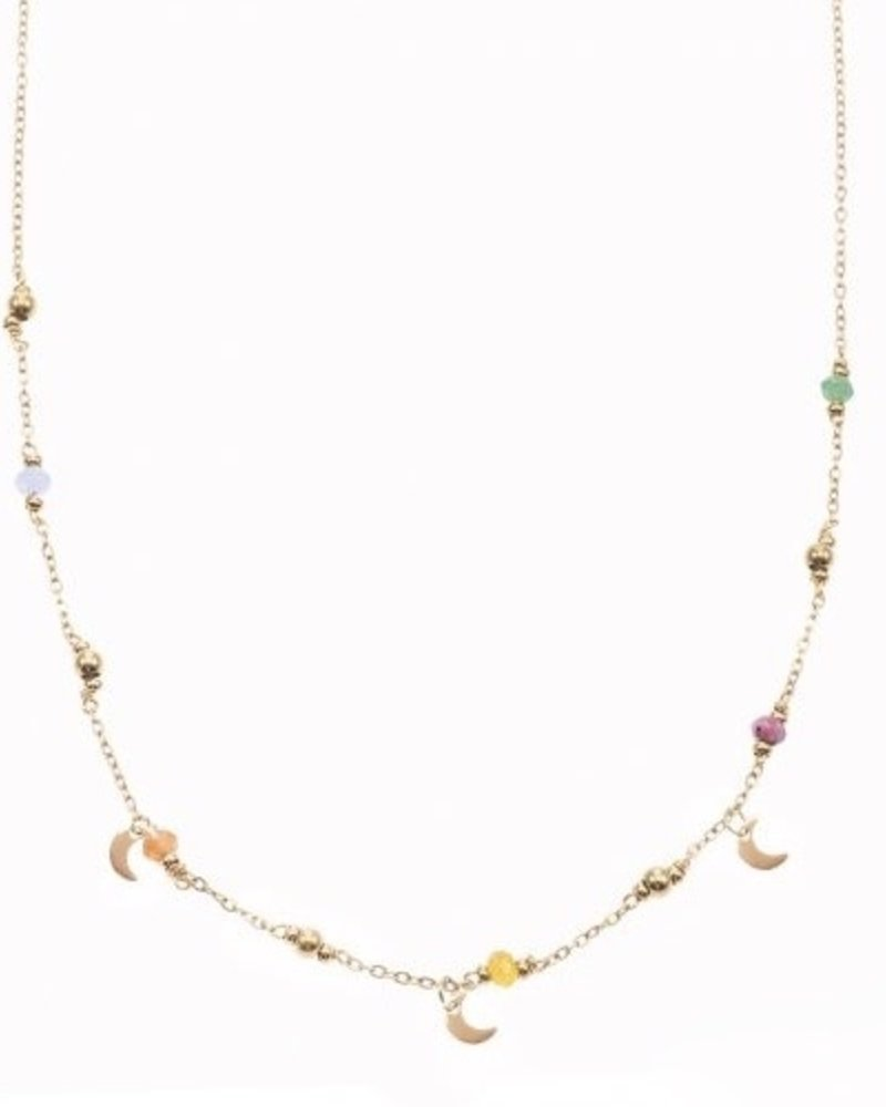 Necklace - Color Beads With Moons