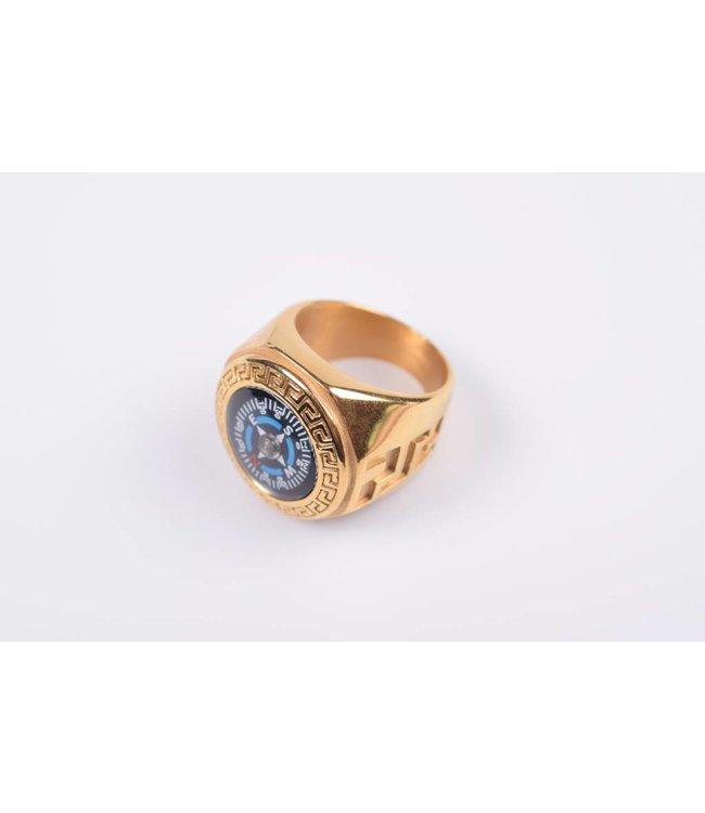 Ring kompas goudkleurig