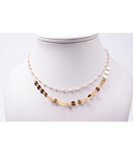 Ketting double gold/white