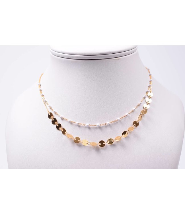 Necklace double gold/white