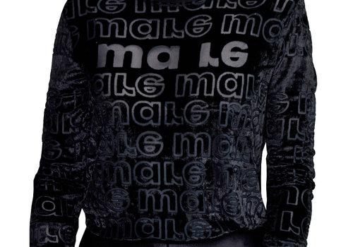 MA RE-ams Devoré Logo T- shirt black velvet