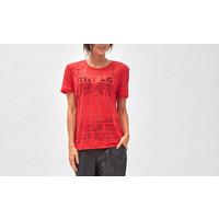 Devoré Logo T- shirt red satin