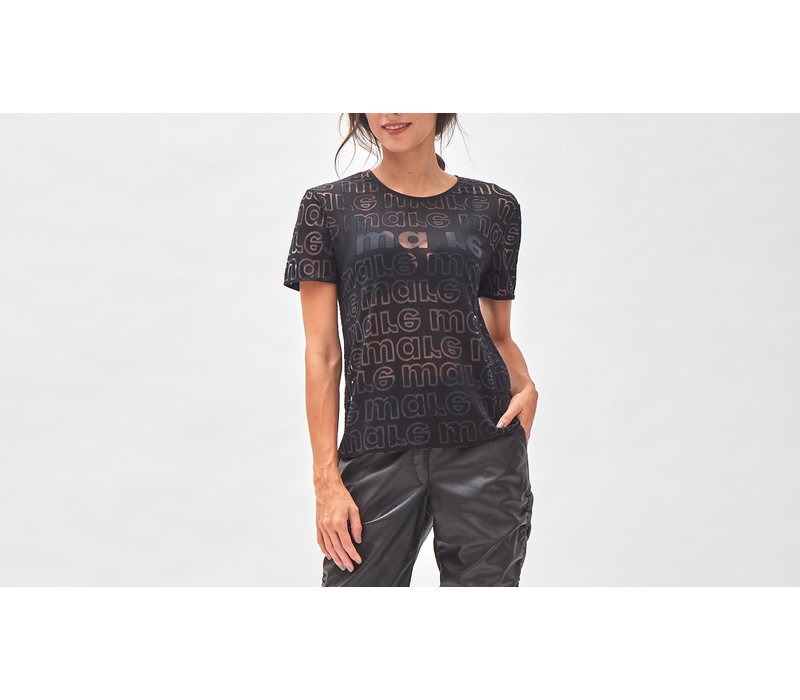 Devoré Logo T- shirt black satin
