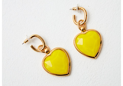 MA RE-ams Rainbow Glass effect heart  drop earrings