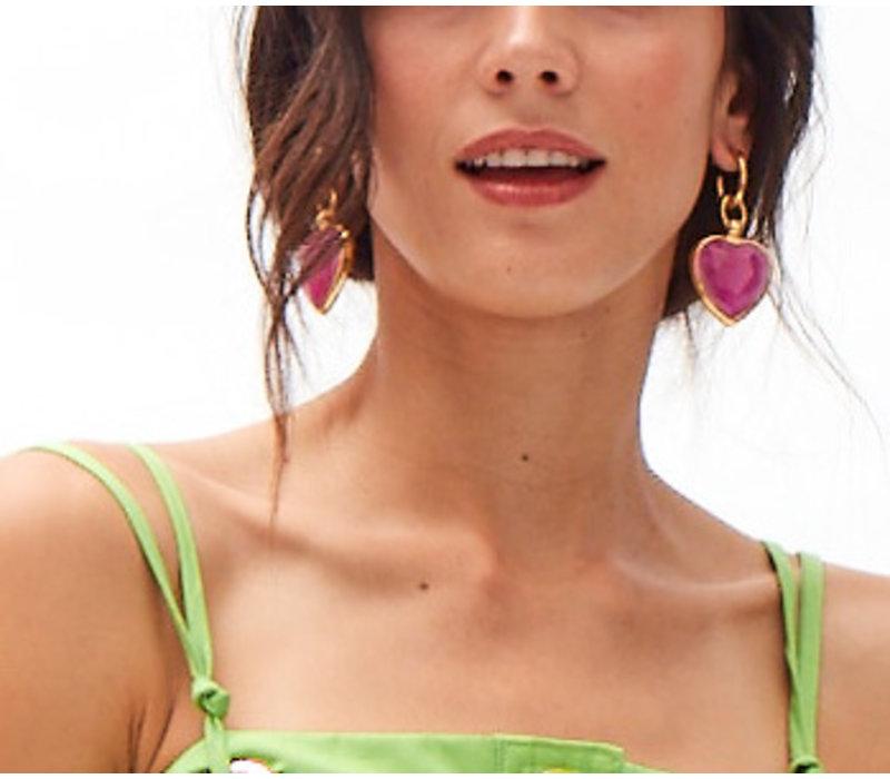 Rainbow Glass effect heart  drop earrings   - yellow