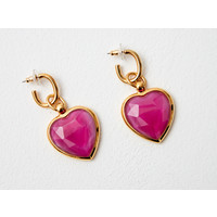 Rainbow Glass effect heart  drop earrings   - magenta