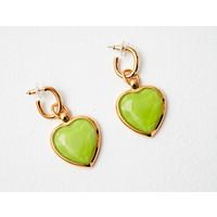 Rainbow Glass effect heart  drop earrings   - appel green