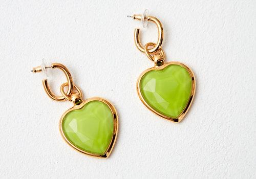 MA RE-ams Rainbow Glass effect heart  drop earrings