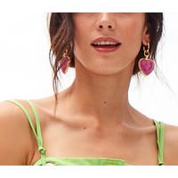 Rainbow Glass effect heart  drop earrings   blue