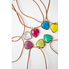 MA RE-ams Gold or Silver tone, leather and recycled glass necklace