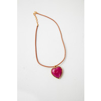 Gold or Silver tone, leather and recycled glass necklace