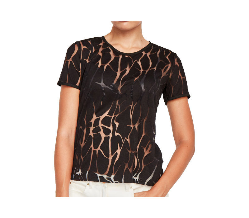 Devoré  T- shirt black - water print