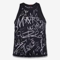 Devoré Graffiti Tank Top- black
