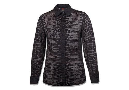 MA RE-ams silk-satin devore shirt  - Croco