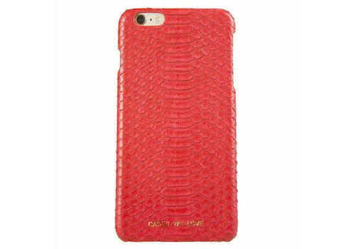 CWL iPhone 6 Plus / 6s Plus Red Lips Real Snake Skin Leather