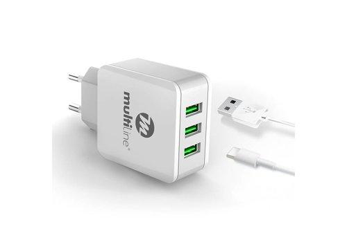 Multiline 3-Poorts USB Oplader 3.1A