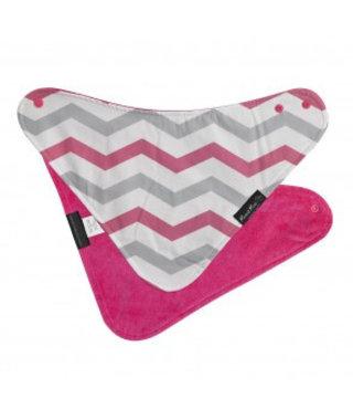 Mum2Mum Fashion Bib Pink Chevron Cerise