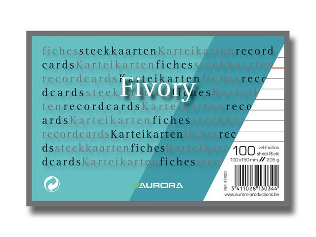 AURORA Systeemkaart Aurora 100x150 wit/pak 100