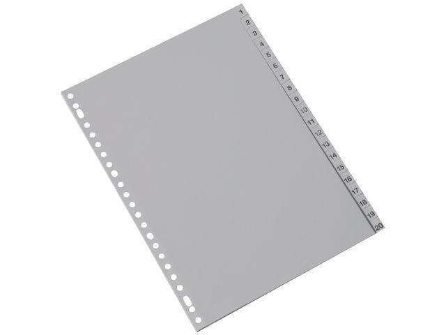Staples Tabblad SPLS A4 23R PP 1-20 grijs/set 20