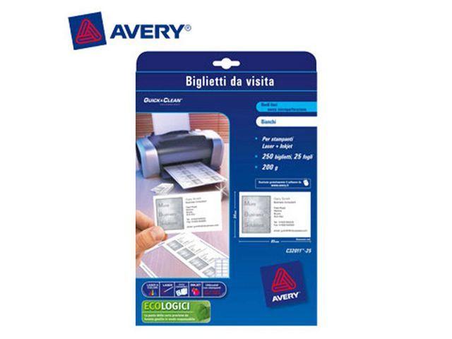 Avery Visitekaart Avery L 85x54 200g/pk 250