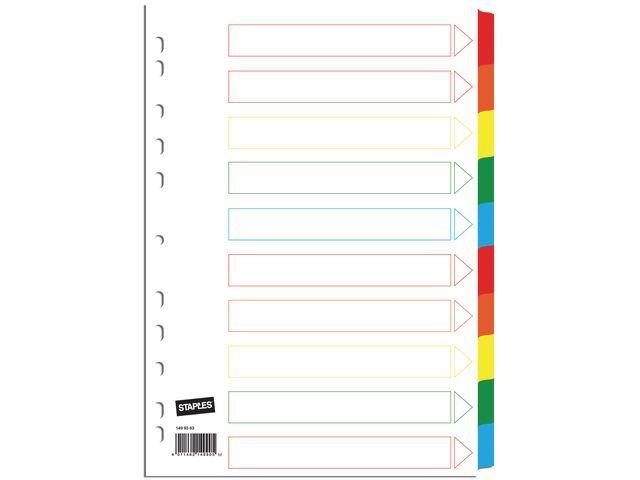Staples Tabblad SPLS A4 11R kart.kleurentab/se10