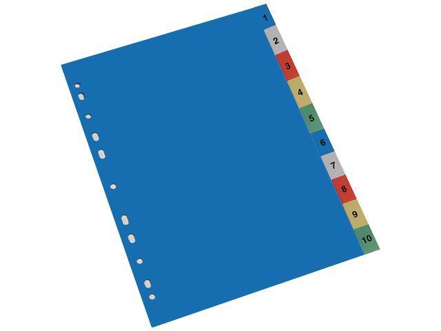 Staples Tabblad SPLS A4 11R PP 1-10 kleur/set 10