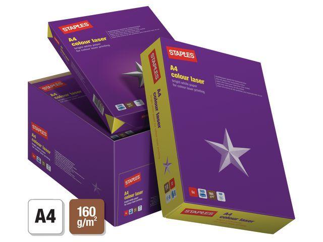 Staples Papier SPLS A4 160g Col laser/ds 5x250v