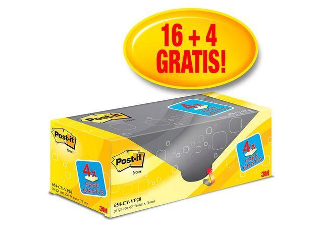 Post-it® Notitieblok Post-It 76x76 kan.geel/pk 20