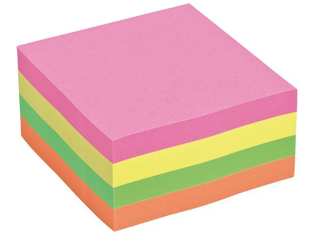 Staples Notitieblok SPLS 76x76 neonkleuren/bl400