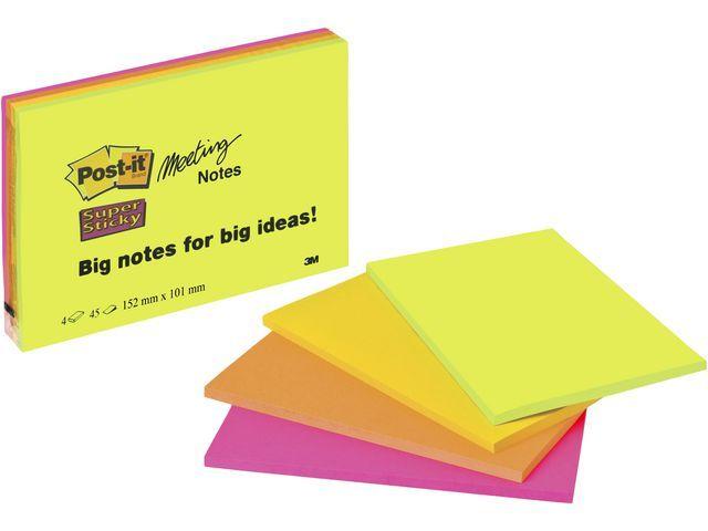 Post-it® Notitieblok Super Sticky 149x98 gl/pak 4