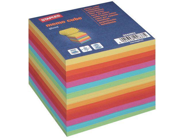 Staples Notitieblok SPLS kubus gekleurd/bl 800v