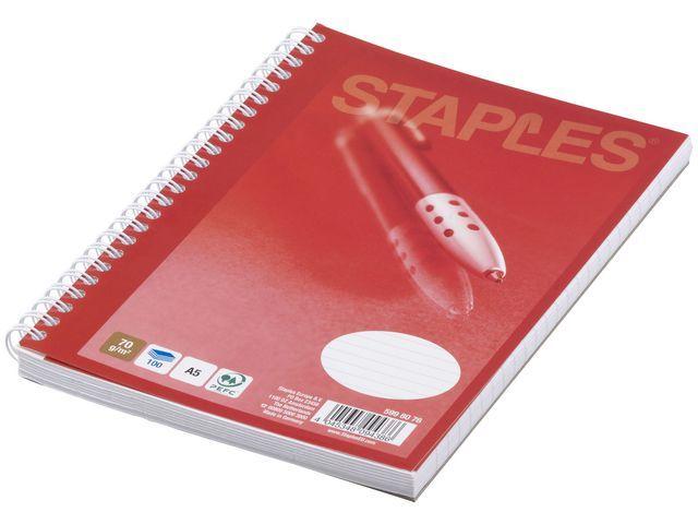 Staples Spiraalblok SPLS A5 lijn 100v/pak 5