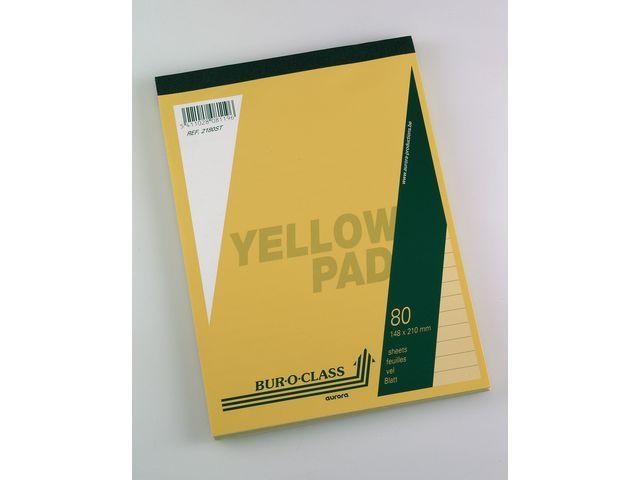 AURORA Schrijfblok Aurora A5+ lijn 4gt geel/blk