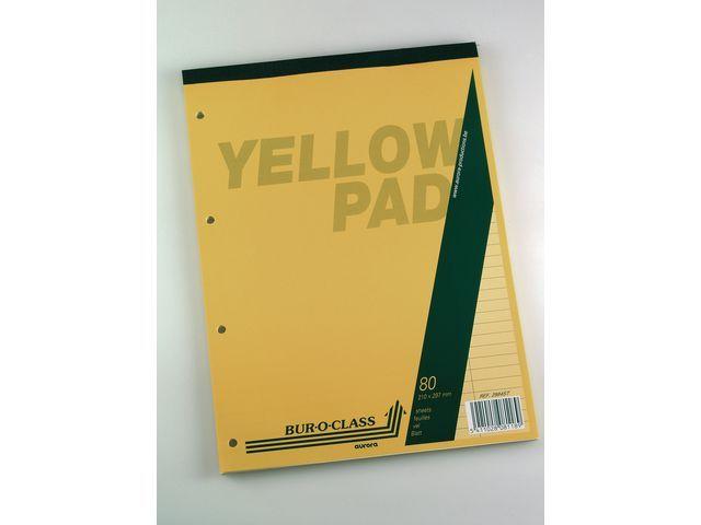 AURORA Schrijfblok Aurora A4+ lijn 4gt geel/blk