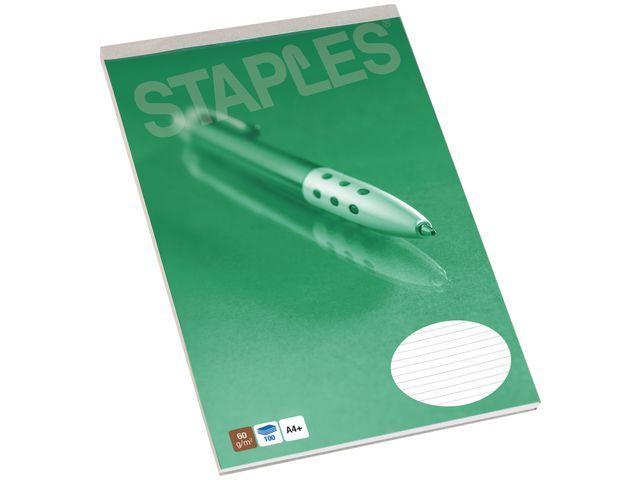 Staples Schrijfblok SPLS A4+ recy lijn 100v/pk5