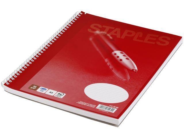 Staples Spiraalblok SPLS A4+ lijn 100 vel/pk 5
