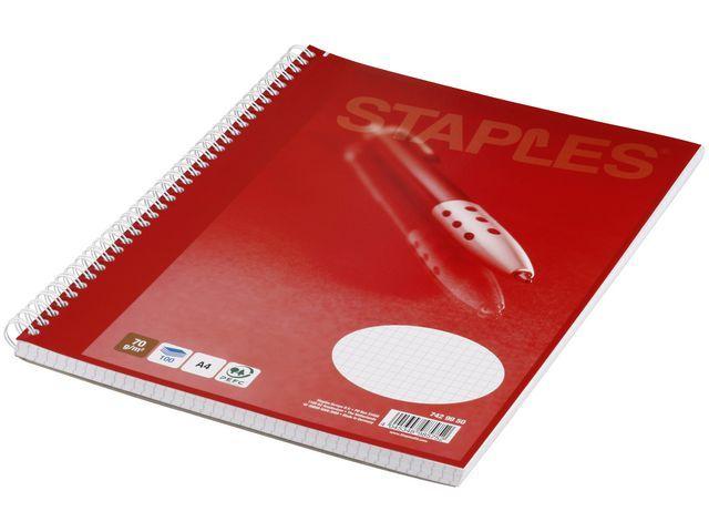 Staples Spiraalblok SPLS A4+ ruit 100 vel/pk 5