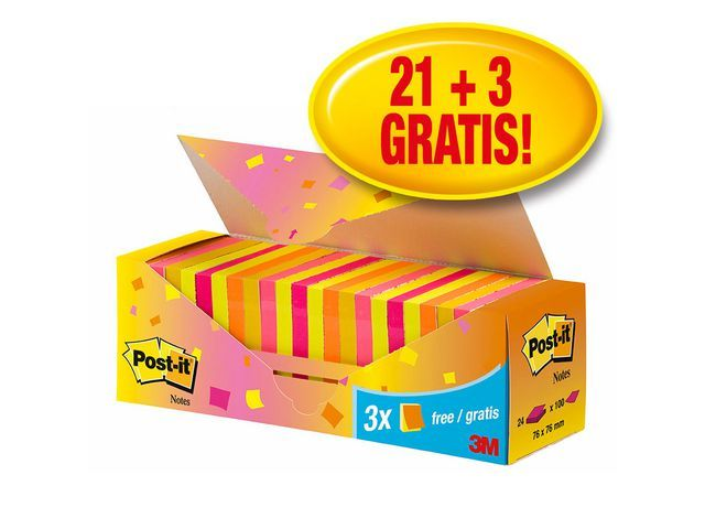 Post-it® Notitieblok Post-It Neon 76x76/pk 24x100