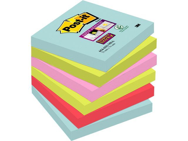 Post-it® Notitieblk Sup Sticky 76x76 Miami/pk6