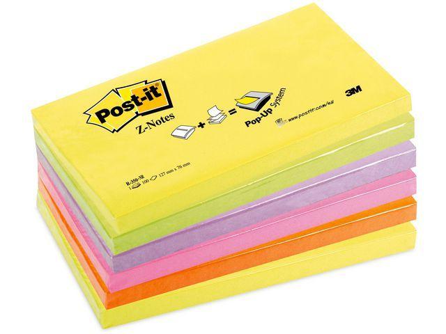 Post-it® Notitieblok Z-note 76x127 nn-rainbow/p6