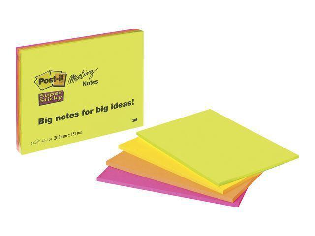 Post-it® Notitieblok Super Sticky 200x149 gl/pk 4
