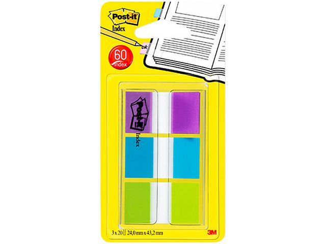 Post-it® Index Standaard 24mm paars/blauw/groen