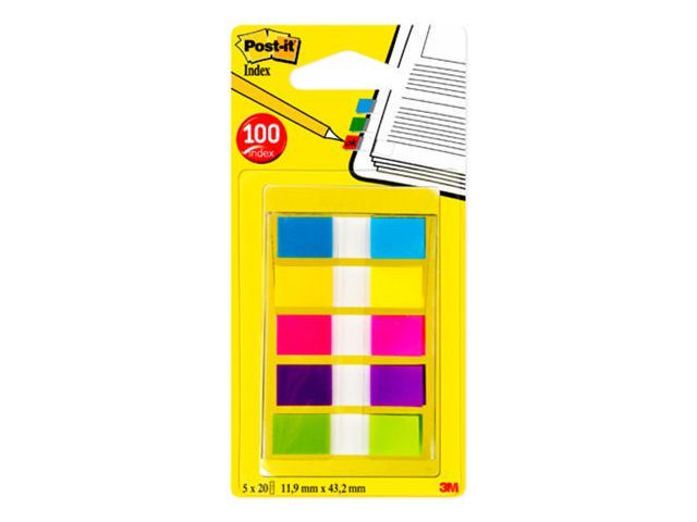 Post-it® Index Post-It Mini neon kleuren/set5x20